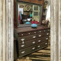 Distressed grey & stained dresser with mirror and white pulls. $224.99 #cherisheverymoment #upcycling #homedecor