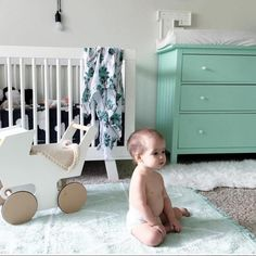 The Hippy Rug in Mint is a gorgeous addition to a gender-neutral nursery. All Lorena Canals children's rugs are 100% cotton, machine washable and non-toxic. Handmade responsibly in India. Visit lorenacanals.com for more info and to shop.