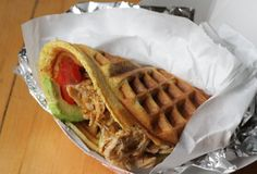 Waffle & Wolf - Waffle Sandwiches NYC-Pulled pork bacon-waffle sandwiches are the future of breakfast for lunch
