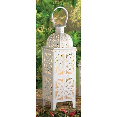 GIANT-SIZE WHITE MEDALLION LANTERN Store wide sale, free gift with every order till Dec. 1st! Stop by to see more!