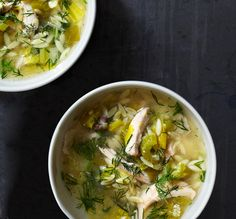 Lemony Chicken and Orzo Soup - Bon Appétit - super simple, but really tasty (provided you like fresh dill); my husband requested this one be added to our regular rotation he liked it so much.