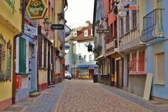 The cobblestone streets of Frankfurt, Germany