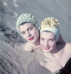 couldn't swim back then without a rubber swim cap, with flowers were even better!