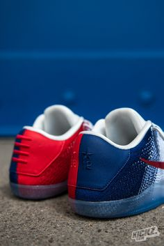 Ready for July 4th and the Olympics: The Nike Kobe XI Elite Low USA basketball shoe features a white, blue and red color scheme. The heel shows Kobe's 2 Olympic championship in Beijing and London.