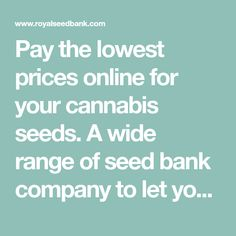 Pay the lowest prices online for your cannabis seeds. A wide range of seed bank company to let you pay the best prices available! Worldwide shipping.