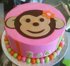 An adorable pink monkey cake. Cake # 044.