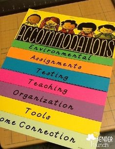This is a flip book designed to provide teachers with suggestions for accommodations for their students. It is beneficial for both general Ed and special Ed teachers. It also provides easy retrieval in a flip of a page. I recommend printing on cardstock.