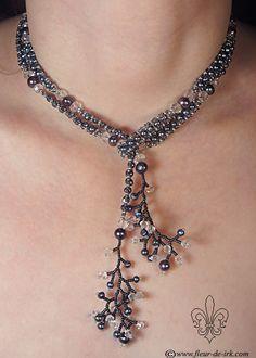 Black pearl lariat N706 by Fleur-de-Irk.deviantart.com on @deviantART