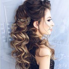 Half up half down curl hairstyles - partial updo wedding hairstyle ideas - a great options for the modern bride from flowy bohemian to elegant wedding