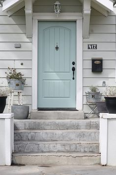 New Door Color - Wythe Blue - The Wicker House Front Door Paint Colors, Exterior Paint Colors For House, Painted Front Doors, Paint Colors For Home, Best Front Door Colors, Front Door Painting, House Shutter Colors, Outdoor House Colors, Outside House Paint Colors