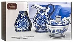 The Bombay Company Floral Ceramic Blue  White Sugar  Cream Set * Learn more by visiting the image link.