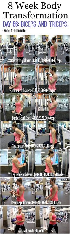 awesome 8 Week Body Transformation: Day 56 BICEP and TRICEPS (Fitness Food Diva)