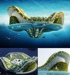 "Lilypad Floating Ecopolis by Vincent Callebaut Architects Designed for ""ecological refugees"" in the year 2100, the Lilypad is an amphibious, self-sufficient city. The design can accommodate 50,000 people along with the plants and animals they need to survive. The lower portion of the craft features a submerged lagoon which purifies rainwater to provide fresh water for the inhabitants of the Lilypad."