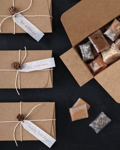 holiday packaging + pretty caramels