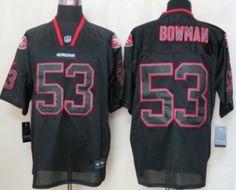 Nike San Francisco 49ers #53 Navorro Bowman Lights Out Black Elite Jersey