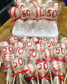 Baseball cake pops & 50th cake pops it's a 50Th Birthday Theme
