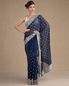 Midnight Blue Sari with Floral Motifs Bridesmaid Saree, Bridesmaids, Bridesmaid Ideas, Indian Dresses, Indian Outfits, Indian Clothes, Indian Wedding Fashion, Indian Fashion, Navy Blue Saree