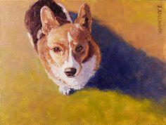 Jennifer Bellinger, oil painting of corgi