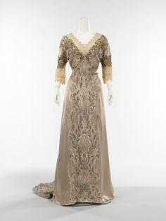 beige tan satin beaded dress, edwardian, 1910s