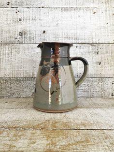 Pitcher Pottery Pitcher Handmade Pottery Vase Pottery Flower Vase Farmhouse Chic Pottery Water Pitcher Ceramic Pitcher Studio Pottery by TheDustyOldShack on Etsy