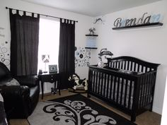 Our Baby Boy's Nursery. Black & white with accents of Grey & Blue