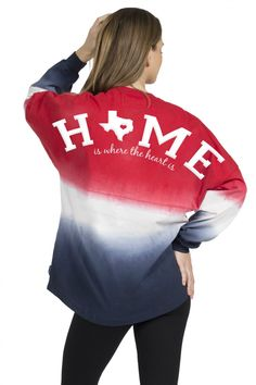 Texas, Home is where the heart is - Tie-Dye Crew Neck Spirit Jersey® American…