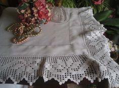 """Antique Edwardian Linen & Deep Lace Edged Tablecloth 52""""x 51"""""""