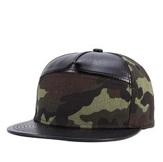 Camouflage Adjustable PU Cotton Flat Cap Men Women Outdoor Sports Street Leather Hat Snapback Gorras Hip Hop Baseball Cap