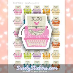 Reminder Blog Planner Stickers Blog Post Schedule Printable