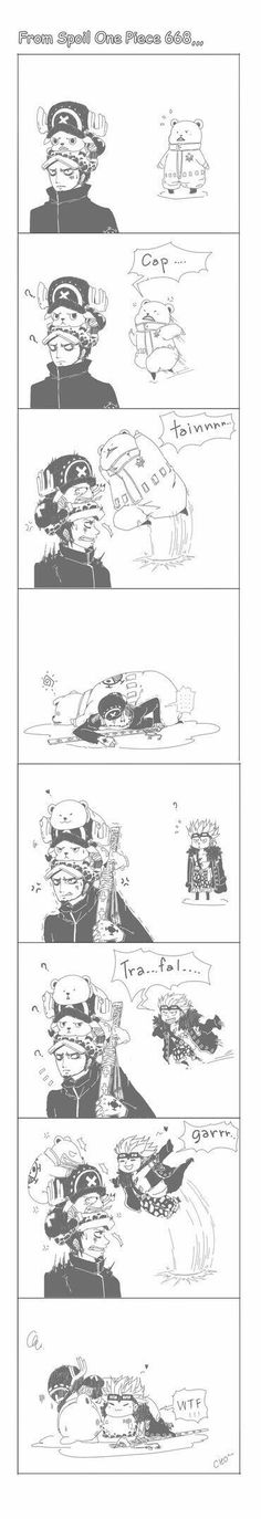 Law, Chopper, Bepo, Kid, funny, text, comic, cute, chibi, captain!, Trafalgar!, pile; One Piece