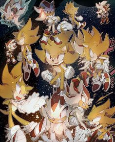 Super Sonic and Super Shadow by aoki6311 on deviantART