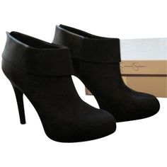 Pre-owned Jessica Simpson Brand New In Box Audriana - Microsuede High... ($106) ❤ liked on Polyvore featuring shoes, boots, ankle booties, black, black high heel booties, high heel booties, black bootie, black platform bootie and short black boots