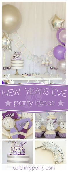 Check out this fantastic New Years Eve party! The cupcakes topped with clocks are awesome!! See more party ideas and share yours at CatchMyParty.com #newyearseve #newyear #NYE