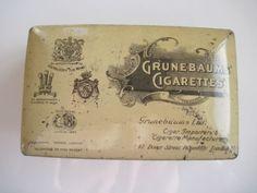 Grunebaums cigarette tin (100/empty) by Grunebaums Ltd, Piccadilly c.1925