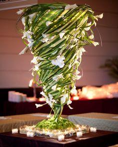 modern tornado calla and lily grass floral arrangement by tantawan bloom Unique Centerpieces, Wedding Table Centerpieces, Flower Centerpieces, Wedding Decorations, Centerpiece Ideas, Tall Centerpiece, Deco Floral, Floral Design, Decoration Evenementielle