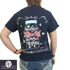 Southern Couture Preppy Summer Nights Fireflies Mason Jar Bright Girlie T-Shirt #SouthernCouture #GraphicTee