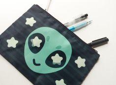 little alien pouch| $11.99  kawaii alien space grunge grunge cute fachin pencil pouch bag accessories star under20 under30 etsy