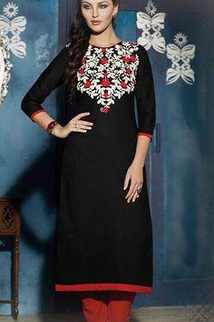 Black Stitched Embroidery Designer kurti