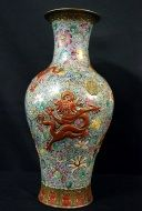 Emperors Antique  A Fine Famille Rose Vase Depicting Five-clawed Dancing Dragons With Flowers in Background.  H - 46.5 cm Qianlong mark and period