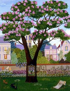 Chestnut Tree ~ by French Naive Artist Cellia Saubry Henri Rousseau, Illustrations, Illustration Art, Art Brut, Paintings I Love, Naive Art, French Artists, Traditional Paintings, Tree Art