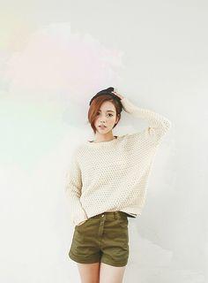 green shorts + knit top