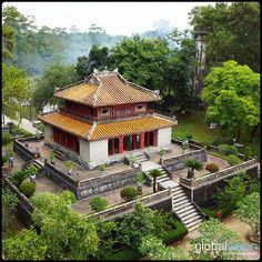 Mosoleum of the Emperor Minh Mang in Hue, Aerial Images, Southeast Asia, Hue, Fields, Vietnam, Cabin, Emperor, House Styles, Cabins