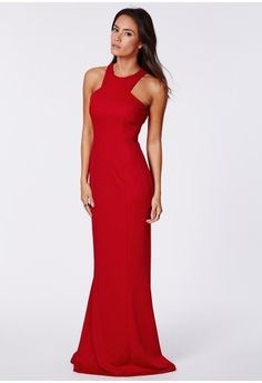 $80 Missguided Kaisa Crepe High Neck Maxi Dress Red