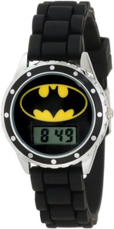 Batman Kids' BAT4045 Black Rubber Strap With Batman Logo Face Watch Batman. $9.99. Lcd digital display. Black rubber strap. Buckle clasp. Batman logo face. Round face