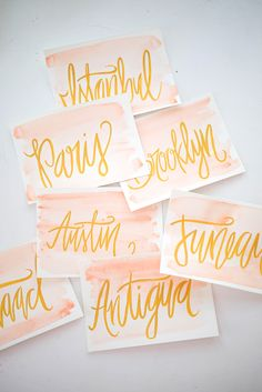 Bride & Grooms favorite cities as table markers / #watercolor & acrylic #calligraphy