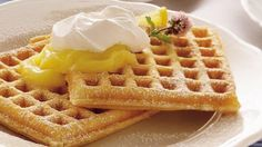 Love lemon cream pie? Here's a way to enjoy the same flavors with delicious waffles.