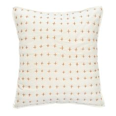 Got here through Emily Henderson? Use code EMSENTME at checkout for 20% off your entire order with us! This Amalfi Stripe Cross Stitch Decorative Pillow adds a lighthearted and artisan touch to your bedroom, featuring a 100% Organic Cotton shell and insert filled with recycled polyester fiberfill. The quilted ivory fro