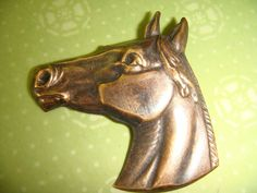 ButtonArtMuseum.com - Large Stamped Brass Horse Vintage Style Button
