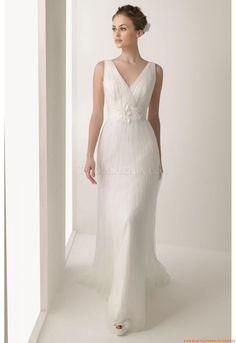 V-neck Moliig Schlichte Elegante Brautkleider 2014 aus Chiffon