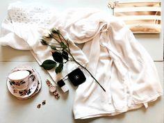 White silk robe by Tatyana Kurbatoff and our fav Kate Spade clutch. Kate Spade Clutch, White Silk, Beautiful Things, Dress